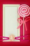 Tarjeta de la invitación del bautismo en rosa Imagen de archivo