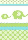 Tarjeta de la invitación del elefante de la ducha de bebé stock de ilustración