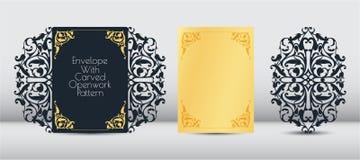 Tarjeta de la invitación del laser, plantilla de la tarjeta de felicitación Cortar el modelo floral, vegetal del papel, cartulina stock de ilustración
