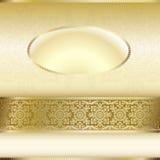 Tarjeta de la invitación del oro con adorno del ornamento ningún texto stock de ilustración