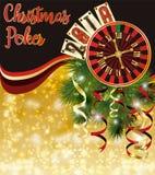 Tarjeta de la invitación del póker de la Navidad Nuevo vector i de 2019 años ilustración del vector