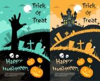 Tarjeta de la invitación del partido de la cara de la calabaza de la casa de Halloween ilustración del vector