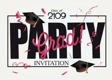 Tarjeta de la invitación del partido del graduado con los casquillos de la graduación y el confeti rojo stock de ilustración