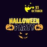 Tarjeta de la invitación del partido de Halloween con sonrisas malvadas Imagen de archivo libre de regalías