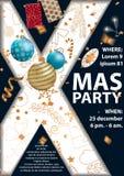 Tarjeta de la invitación del partido de la Navidad 2018 para su diseño stock de ilustración