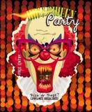 Tarjeta de la invitación del vector del partido de Halloween con el payaso espeluznante stock de ilustración