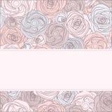 Tarjeta de la invitación del vintage con las rosas. Illustr del vector stock de ilustración