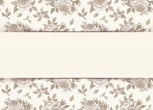 Tarjeta de la invitación del vintage con las rosas Ilustración del vector ilustración del vector