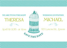 Tarjeta de la invitación del vintage de la boda Imágenes de archivo libres de regalías