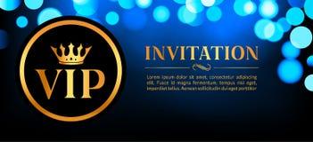 Tarjeta de la invitación del VIP con el fondo que brilla intensamente del oro y del bokeh Diseño elegante de lujo superior ilustración del vector