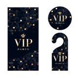 Tarjeta de la invitación del VIP, suspensión amonestadora e insignia Imágenes de archivo libres de regalías
