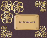 Tarjeta de la invitación en un fondo del clarete Imagen de archivo