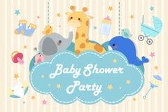 Tarjeta de la invitación de la fiesta de bienvenida al bebé de la historieta stock de ilustración