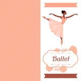 Tarjeta de la invitación a la demostración de la danza del ballet con ilustración del vector