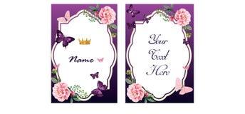 Tarjeta de la invitación o de felicitación en tonos púrpuras Fotos de archivo