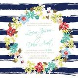 Tarjeta de la invitación o del aviso de la boda Fotografía de archivo libre de regalías
