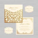 Tarjeta de la invitación o de felicitación de la boda con el ornamento del vintage Papel ilustración del vector