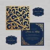 Tarjeta de la invitación o de felicitación de la boda con el ornamento del vintage Papel stock de ilustración