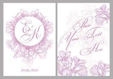 Tarjeta de la invitación para la boda fotos de archivo