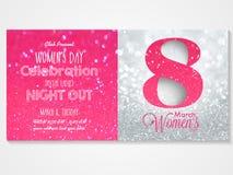 Tarjeta de la invitación para la celebración del día de las mujeres stock de ilustración