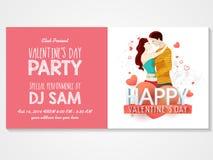 Tarjeta de la invitación para la celebración del día de tarjeta del día de San Valentín Imagen de archivo libre de regalías