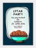 Tarjeta de la invitación para la celebración del partido de Iftar Imágenes de archivo libres de regalías