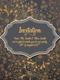 Tarjeta de la invitación y del aviso de la boda con el ornamento en estilo árabe Modelo del Arabesque Imagen de archivo libre de regalías
