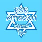 Tarjeta de la invitaci?n o de la enhorabuena del bar mitzvah d?a de fiesta jud?o, ejemplo del vector stock de ilustración