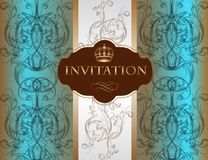 Tarjeta de la invitación con el ornamento en color azul Fotos de archivo