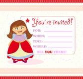 Tarjeta de la invitación con la princesa Fotos de archivo