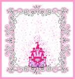 Tarjeta de la invitación con la princesa mágica del cuento de hadas Imagenes de archivo