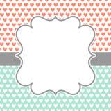 Tarjeta de la invitación con los corazones y el marco de la polca Fotos de archivo
