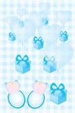 Tarjeta de la invitación de la fiesta de bienvenida al bebé para los muchachos de bebés gemelos Fotografía de archivo libre de regalías