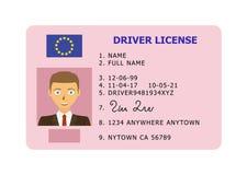 Tarjeta de la licencia de conductor de coche Imagen de archivo