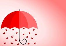 Tarjeta de la lluvia de los corazones del día de tarjetas del día de San Valentín Imágenes de archivo libres de regalías