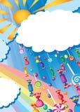Tarjeta de la lluvia y del sol del caramelo Imagenes de archivo