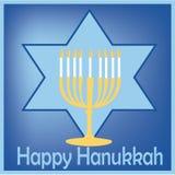 Tarjeta de la luz y de la estrella de Hanukkah Stock de ilustración