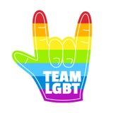 Tarjeta de la mano de la espuma del arco iris del lgbt del equipo Fotografía de archivo