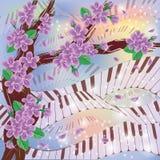 Tarjeta de la melodía de la primavera ilustración del vector