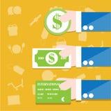 Tarjeta de la moneda, de las cuentas y de crédito stock de ilustración