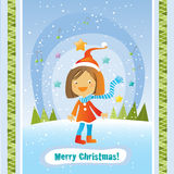 Tarjeta de la muchacha de la Navidad Foto de archivo libre de regalías