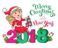 Tarjeta de la Navidad de la muchacha de Santa Claus y del Año Nuevo 2018 Imagen de archivo libre de regalías