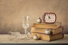Tarjeta de la Navidad retra del estilo y del Año Nuevo Fotografía de archivo