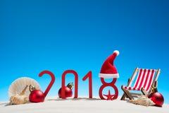Tarjeta de la Navidad tropical y del Año Nuevo 2018 Fotografía de archivo libre de regalías