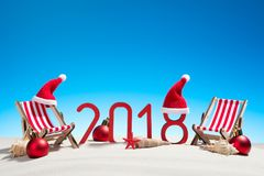 Tarjeta de la Navidad tropical y del Año Nuevo 2018 Imagenes de archivo