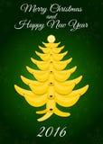 Tarjeta de la Navidad y del Año Nuevo 2016 Ilustración del Vector