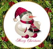 Tarjeta de la Navidad y del Año Nuevo con el muñeco de nieve Fotografía de archivo