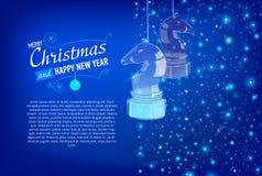Tarjeta de la Navidad y del Año Nuevo con los caballos de cristal Fotos de archivo