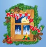 Tarjeta de la Navidad y del Año Nuevo con los renos del vuelo libre illustration