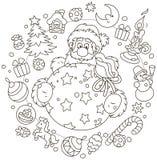 Tarjeta de la Navidad y del Año Nuevo con Papá Noel stock de ilustración